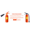 two red fire extinguishers of different types vector image vector image