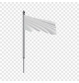 white flag on flagpole flying in wind mockup vector image vector image
