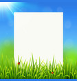 White paper sheet on sunny summer grass background vector image vector image