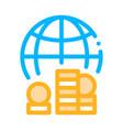 worldwide money icon outline vector image vector image