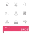 Bride icon set vector image