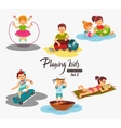 Cartoon kids playing Boy playing with a toy car vector image