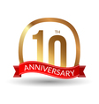 10 years anniversary experience gold label with vector image vector image