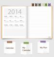 2014 calendar on notebook paper June vector image