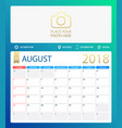 august 2018 calendar or desk vector image vector image