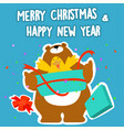 bear and duck merry christmas and happy new year vector image vector image