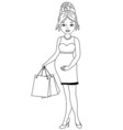 Black and White Pregnant Woman vector image vector image