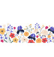 border gorgeous spring blooming flowers vector image