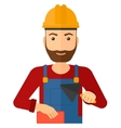 Bricklayer with spatula and brick vector image vector image