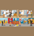 building people horizontal banners vector image vector image