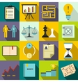Business office icons set flat style vector image