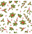 christmas berry holly mistletoe leaves seamless vector image vector image