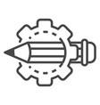 cog wheel pencil icon outline style vector image