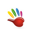 colorful hand icon vector image vector image