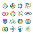 colorful logo template associates integrated vector image vector image