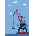 commercial seaport banner with port crane vector image vector image