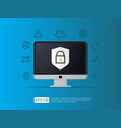 computer with shield icon internet vpn security vector image