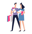 couple on shopping with packs of clothes and food vector image