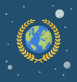 earth globe with golden wreath on space background vector image vector image