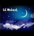 eid mubarak background with moon and stars vector image vector image