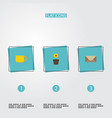 flat icons plant pot tea letter and other vector image vector image