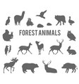 forest animals silhouettes set vector image