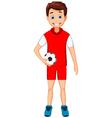 funny boy cartoon with football vector image vector image