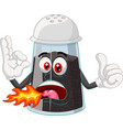 funny hot spicy black pepper on bottle cartoon vector image vector image