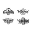 halloween night set vintage style emblems vector image