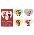 happy couples in love pair of boys girls set frame vector image vector image