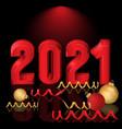 happy new 2021 year greeting card with xmas balls vector image vector image