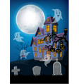 haunted house and ghost with halloween background vector image vector image