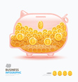 Infographic business currency money coins piggy ba vector image vector image
