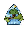 lake camp adventure logo hiking emblem design vector image vector image