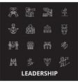 leadership editable line icons set on black vector image vector image
