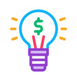 light lamp money icon outline vector image vector image