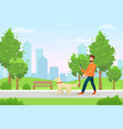 man with dog flat morning vector image vector image
