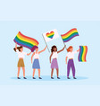men with rainbow and heart flag to lgbt parade vector image vector image