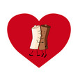 milk and coffee on a heart valentines day vector image vector image