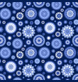 monochrome blue seamless texture with fancy vector image vector image