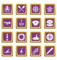 nautical icons set purple vector image vector image