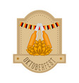 oktoberfest label with beer bottles and wheat vector image vector image