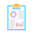 page with diagrams and graphs on flip chart vector image vector image