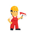 painter builder worker characters with painting vector image vector image