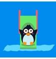 Penguin Riding a Roller Coaster vector image