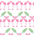 pink flamingo and tropical leaves seamless pattern vector image