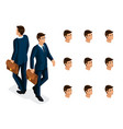 quality isometry a 3d businessman with glasses vector image