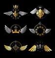 royal crowns and vintage stars emblems set vector image vector image