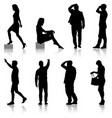 set black silhouettes of beautiful man and woman vector image vector image