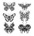 set butterflies silhouettes vector image